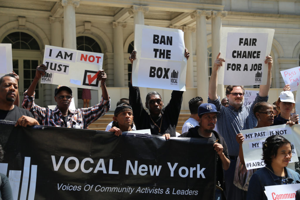 VOCAL-NY at a rally at City Hall in NYC just before the passing of the Fair Chance Act