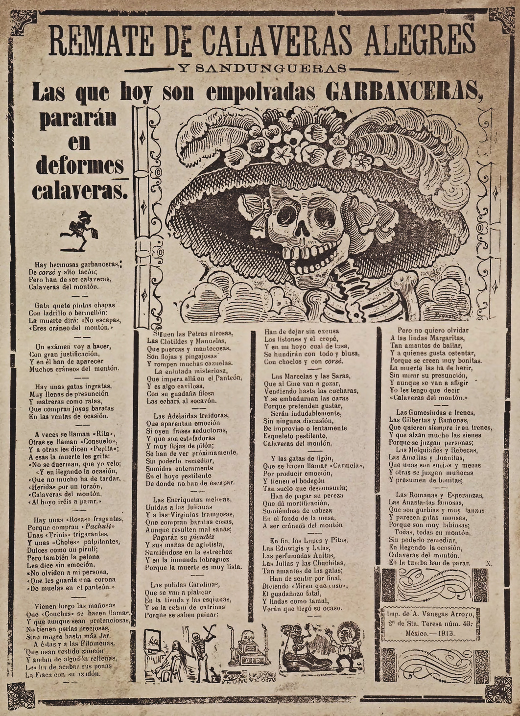 Spanish language broadside from the early 1900's. Has image of a skeleton with a broad rimmed hat.