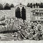 Day of the Dead - Reproduction of a black and white Jose Guadalupe Posada print. Large skeleton commanding the attention of skulls.