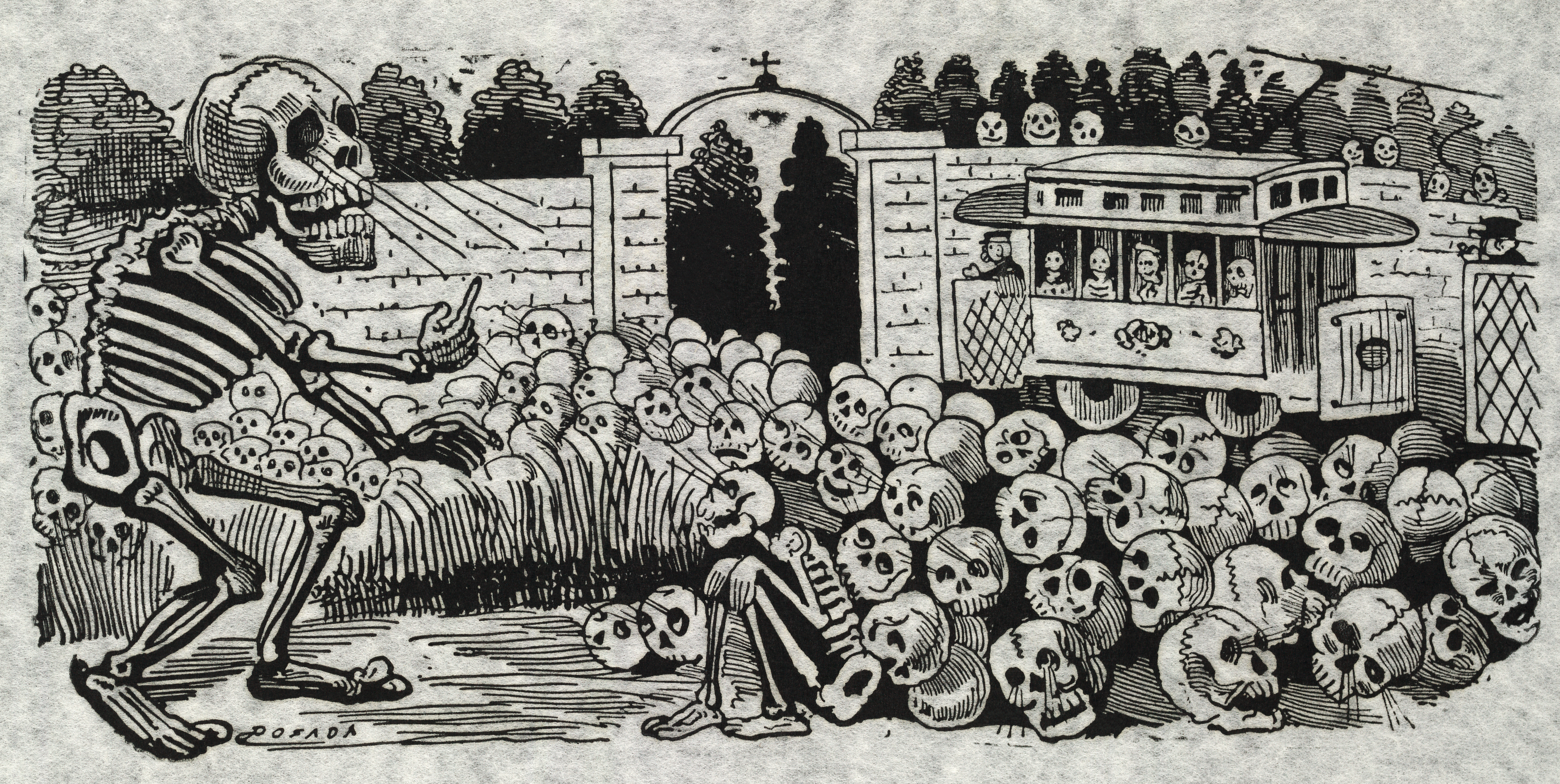 Reproduction of a black and white Jose Guadalupe Posada print. Large skeleton commanding the attention of skulls.