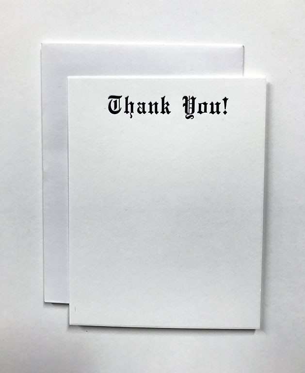 Blackletter Thank you Card