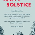 Winter solstice graphic with bare trees and sunset