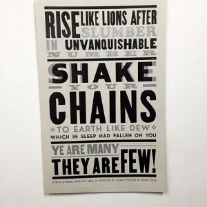 Rise Like Lions Poster - letterpress
