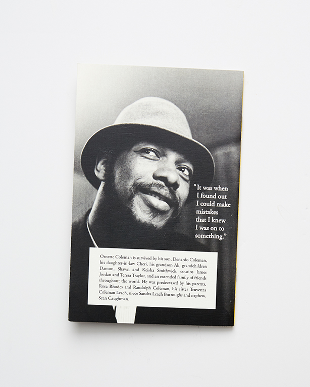 Booklets - Ornette Coleman Funeral Program (back)