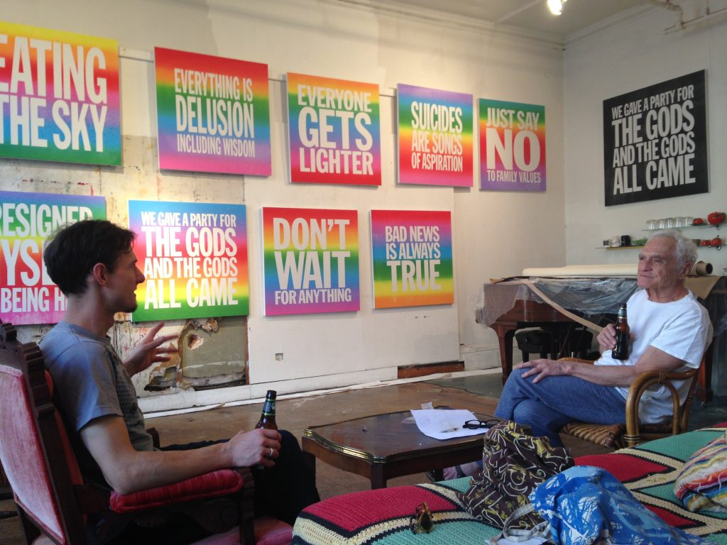 Bushwick Print Lab founder Ray Cross with artist John Diorno